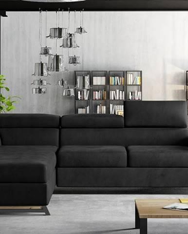 Korense L rohová sedačka s rozkladom a úložným priestorom čierna (Velvet Mat 99)