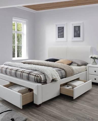 Modena 2 160 čalúnená manželská posteľ s roštom biela