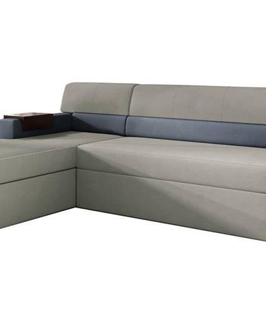 Rieti L rohová sedačka s rozkladom a úložným priestorom svetlosivá