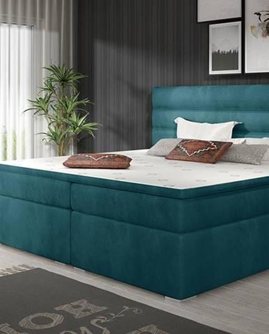 Spezia 180 čalúnená manželská posteľ s úložným priestorom tyrkysová