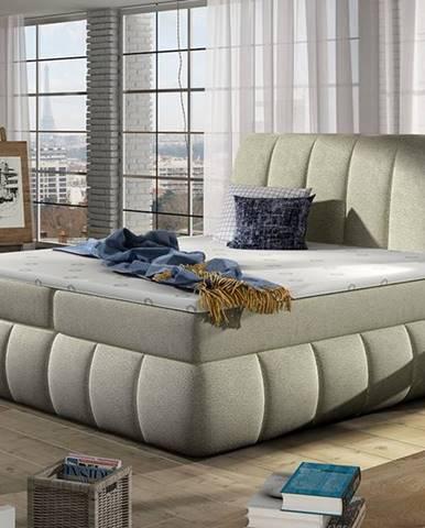 Vareso 140 čalúnená manželská posteľ s úložným priestorom béžová (Dora 21)