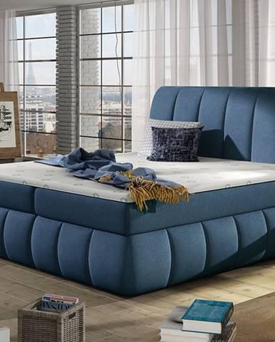 Vareso 140 čalúnená manželská posteľ s úložným priestorom modrá (Orinoco 80)