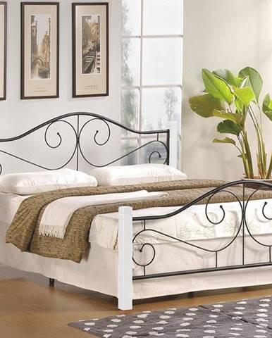 Violetta 160 kovová manželská posteľ s roštom biela