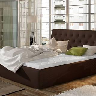 Monzo 180 čalúnená manželská posteľ s roštom tmavohnedá (Soft 66)