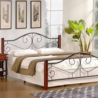 Violetta 140 kovová manželská posteľ s roštom čerešňa antická