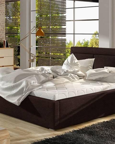 NABBI Branco 140 čalúnená manželská posteľ s roštom tmavohnedá (Sawana 26)