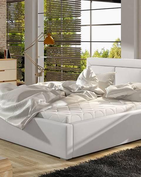NABBI Branco 180 čalúnená manželská posteľ s roštom biela