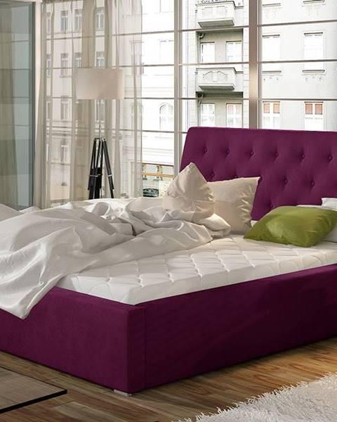 NABBI Monzo 180 čalúnená manželská posteľ s roštom vínová