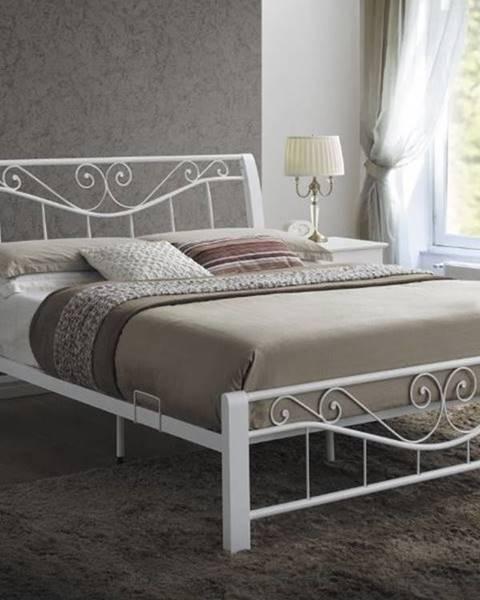 Signal Parma 160 rustikálna manželská posteľ s roštom biela