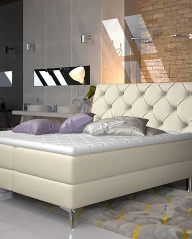 Amika 180 čalúnená manželská posteľ s úložným priestorom béžová