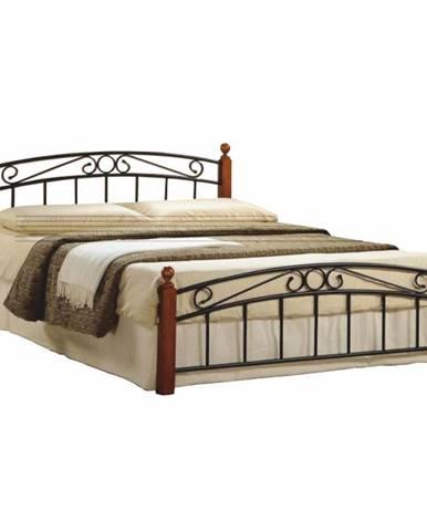 Dolores 140 kovová manželská posteľ s roštom čerešňa