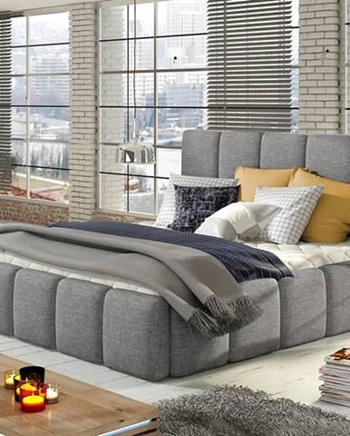 Evora 140 čalúnená manželská posteľ svetlosivá