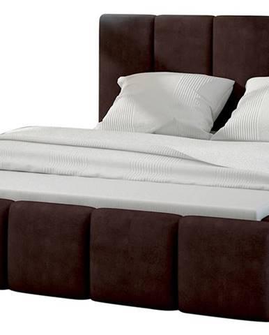Evora 180 čalúnená manželská posteľ tmavohnedá (Jasmine 29)
