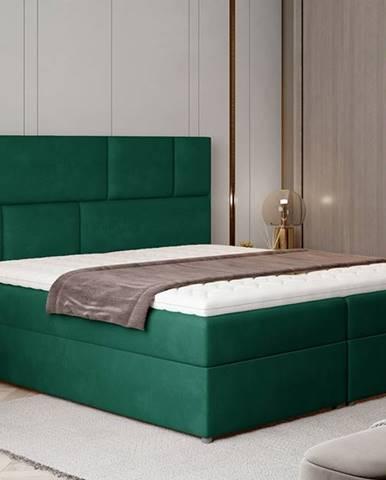 Ferine 145 čalúnená manželská posteľ s úložným priestorom tmavozelená