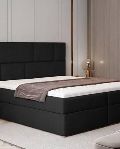 Ferine 185 čalúnená manželská posteľ s úložným priestorom čierna (Sawana 14)