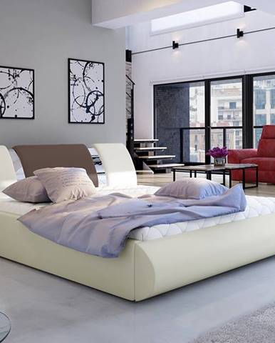 Folino 180 čalúnená manželská posteľ s roštom béžová