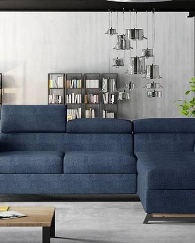 Korense P rohová sedačka s rozkladom a úložným priestorom modrá