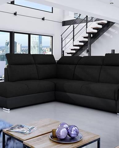 Leren L rohová sedačka s rozkladom a úložným priestorom čierna (Sawana 14)