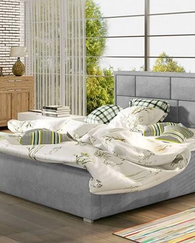 Liza 180 čalúnená manželská posteľ s roštom svetlosivá (Paros 05)