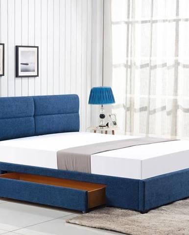 Merida 160 čalúnená manželská posteľ s roštom modrá