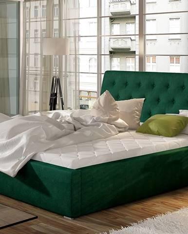 Monzo 140 čalúnená manželská posteľ s roštom tmavozelená