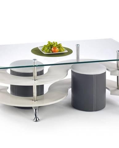 Nina 5 sklenený konferenčný stolík s taburetkami sivý lesk