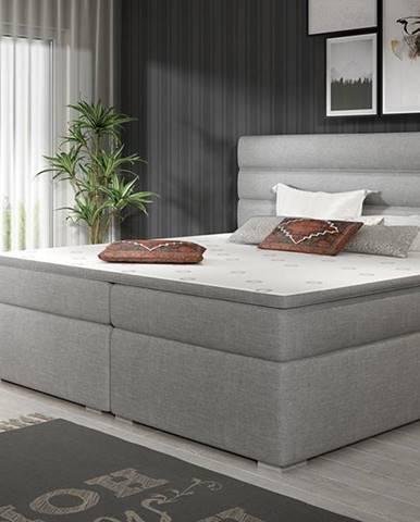 Spezia 140 čalúnená manželská posteľ s úložným priestorom svetlosivá (Sawana 21)