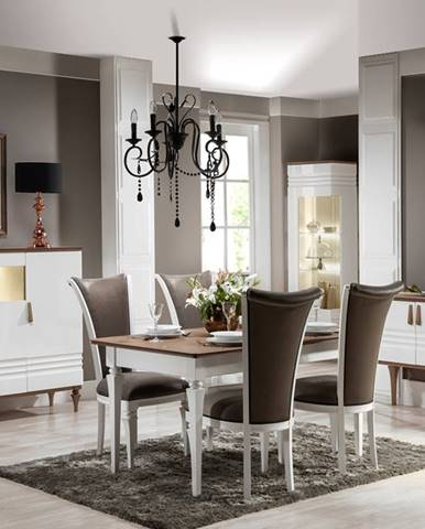 Torino rustikálna jedáleň biely vysoký lesk
