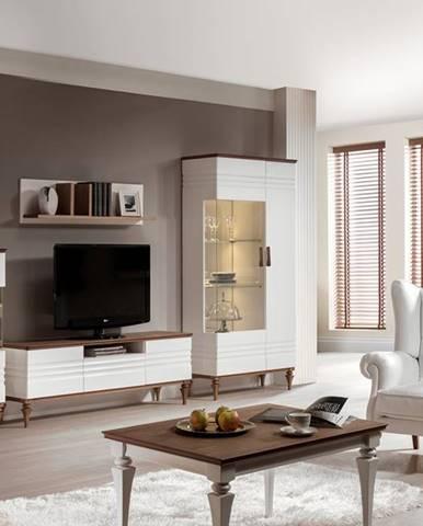 Torino rustikálna obývacia izba biely vysoký lesk