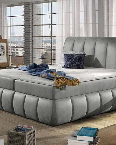 Vareso 160 čalúnená manželská posteľ s úložným priestorom svetlosivá (Monolith 84)