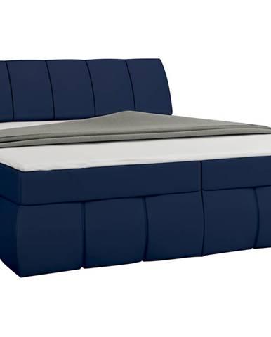 Vareso 180 čalúnená manželská posteľ s úložným priestorom modrá (Soft 09)