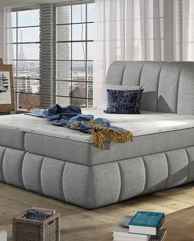 Vareso 180 čalúnená manželská posteľ s úložným priestorom svetlosivá (Sawana 21)