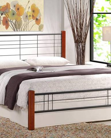 Viera 160 kovová manželská posteľ s roštom čerešňa antická