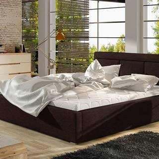 Branco 140 čalúnená manželská posteľ s roštom tmavohnedá (Sawana 26)