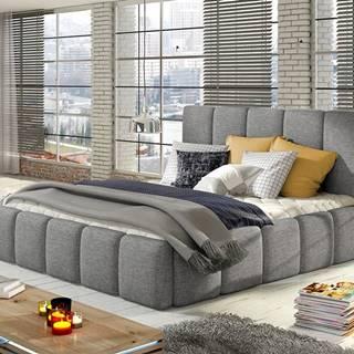 Evora 160 čalúnená manželská posteľ svetlosivá