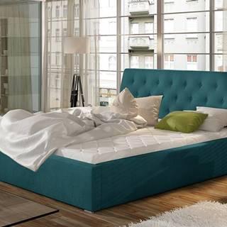 Monzo UP 200 čalúnená manželská posteľ s roštom tyrkysová