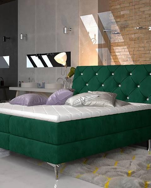 NABBI Amika 180 čalúnená manželská posteľ s úložným priestorom tmavozelená