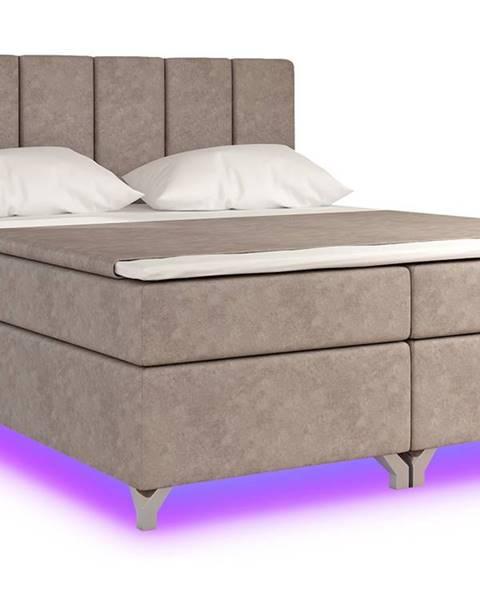 NABBI Barino 180 čalúnená manželská posteľ s úložným priestorom svetlohnedá