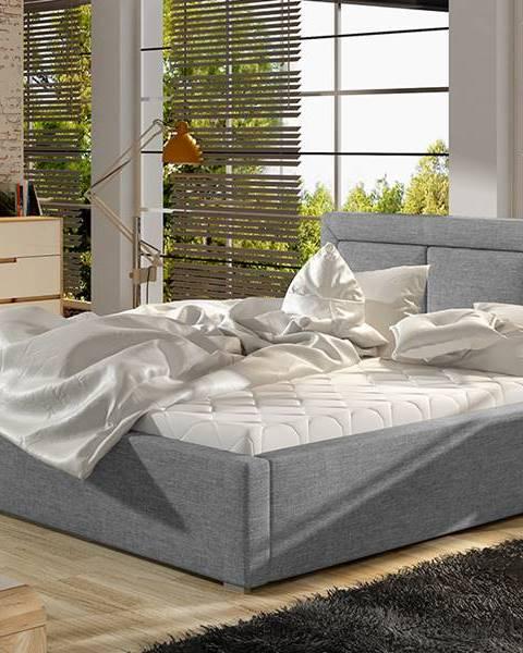NABBI Branco 180 čalúnená manželská posteľ s roštom svetlosivá (Sawana 21)
