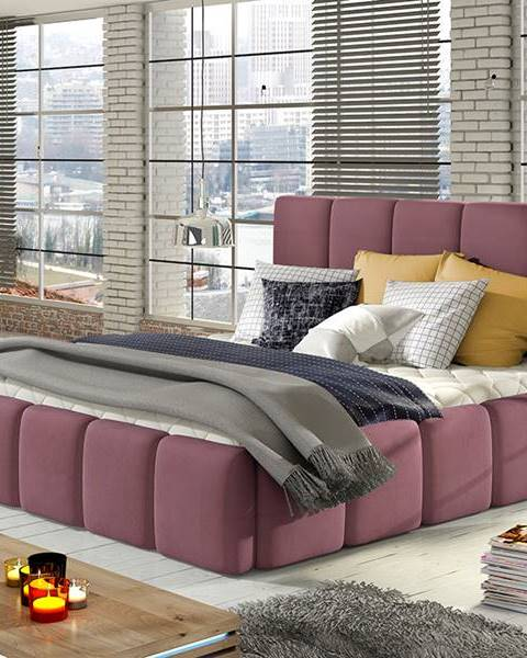 NABBI Evora 180 čalúnená manželská posteľ ružová