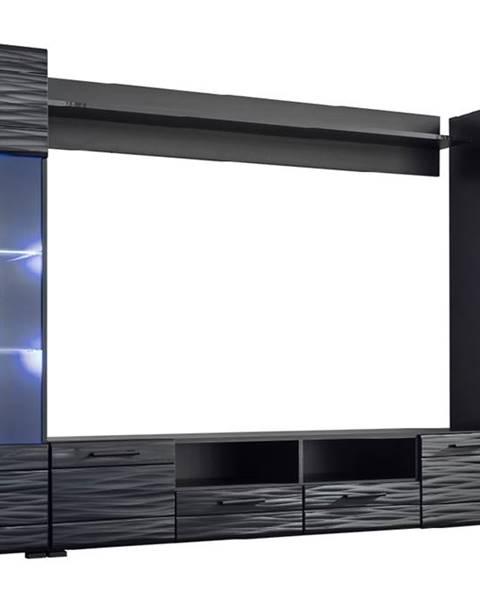 Furnival Modica obývacia stena s osvetlením čierna