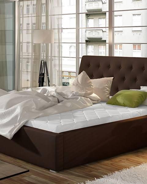 NABBI Monzo UP 140 čalúnená manželská posteľ s roštom tmavohnedá (Soft 66)