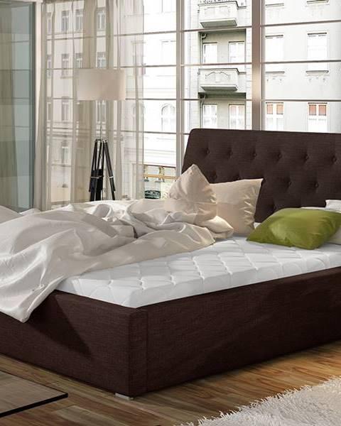 NABBI Monzo UP 200 čalúnená manželská posteľ s roštom tmavohnedá (Sawana 26)