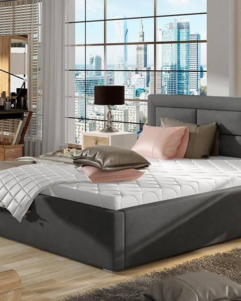 NABBI Rovigo UP 140 čalúnená manželská posteľ s roštom tmavosivá