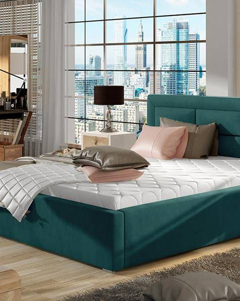 NABBI Rovigo UP 180 čalúnená manželská posteľ s roštom tyrkysová
