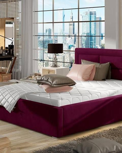 NABBI Rovigo UP 200 čalúnená manželská posteľ s roštom vínová