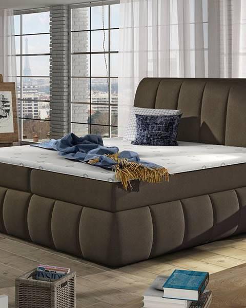NABBI Vareso 160 čalúnená manželská posteľ s úložným priestorom hnedá (Orinoco 29)