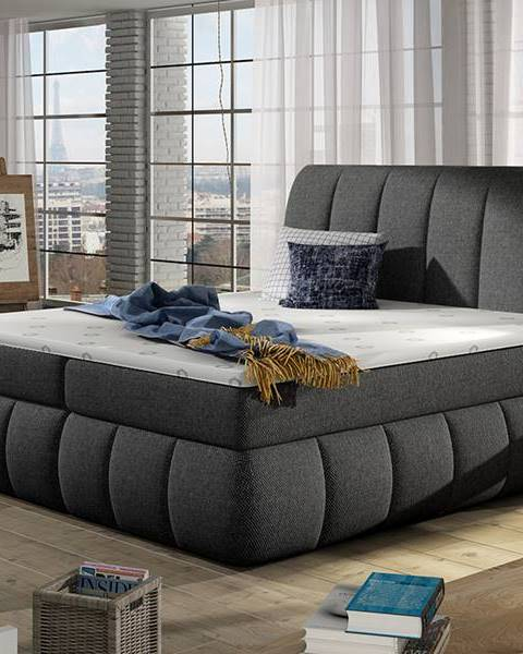 NABBI Vareso 160 čalúnená manželská posteľ s úložným priestorom sivá (Inari 91)