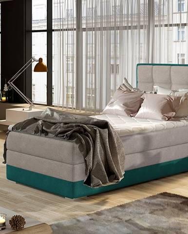 Alessandra 90 P čalúnená jednolôžková posteľ svetlosivá