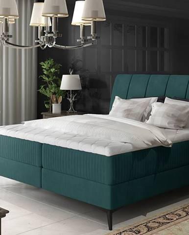 Altama 180 čalúnená manželská posteľ s úložným priestorom tyrkysová